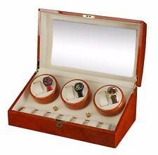 NEW Diplomat Burl wood Automatic 6 Watch Winder Box / Storage Case