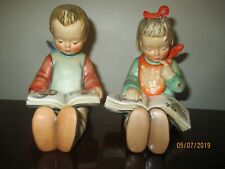 New ListingPair Goebel Hummel Book Worms Bookends, Tm3, Tmk3, 14A, 14B, Boy & Girl Bookworm