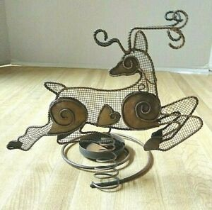 Tealight Tea Light Holder Reindeer Christmas Xmas Holiday Animal Metal Mesh