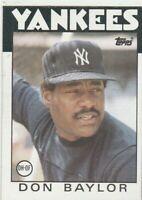 FREE SHIPPING-MINT-1986 Topps #765 Don Baylor Yankees PLUS BONUS CARDS