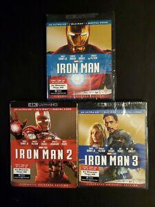Iron Man Trilogy, 4K Ultra HD +Blu-ray, No Digital, Lot D4.