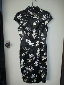 BEAUTIFUL CUE SZ 8 BLACK FLORAL PRINT DRESS