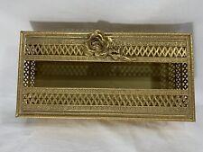 Hollywood Regency Single Rose Design Gold Tissue Box Holder Ornate