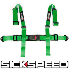 """1 GREEN 4 POINT 2"""" NYLON RACING HARNESS ADJUSTABLE SAFETY SEAT BELT BUCKLE"""