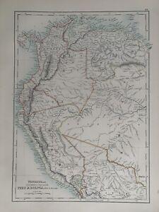 1897 VENEZUELA COLOMBIA ECUADOR PERU ANTIQUE MAP A & C BLACK 123 YEARS OLD