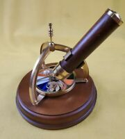 Vintage The San Francisco Music Box Company Kaleidoscope Spinning Brass Wood