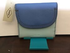 New Womens Fossil Brand Leather Cleo Multifunction Blue Multi Wallet NWT $64