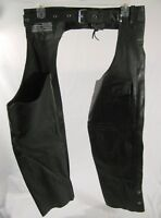 Bikers Dream Apparel Riding Chaps Black Leather Size Medium Motorcycle
