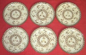 """LOT OF 6 ~ TEMP-TATIONS OLD WORLD BROWN COUPE 10 1/2"""" DINNER PLATES HARD TO FIND"""