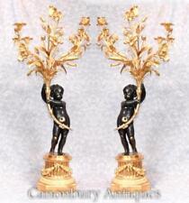 Pair Large French Bronze Cherub Candelabras Manner Clodion