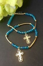 12- Communion Party Favors Blue Bracelet Cross Recuerdos De Mi Bautizo Giveaways