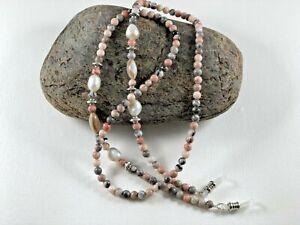 "Pink Zebra JASPER, SHELL & Fresh Water PEARLS  27"" Beaded Eyeglass Chain USA"