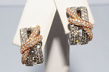 $6,000 .93Ct Natural Diamond Cluster Earrings 18K Two Tone Gold