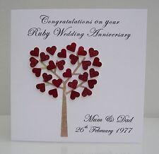 Personalised Ruby Wedding Anniversary Card - 40 years / Any Anniversary