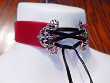 RED VELVET CORSET CHOKER silver damask filigree black ribbon gothic necklace U1