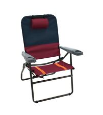 """Rio Gear 17"""" Suspension 4-Position Folding Aluminum Chair - Charcoal/Oxblood,."""