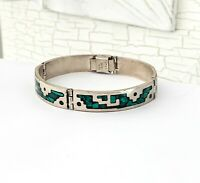 TAXCO Sterling Silver 925 Hinged Stack Stacking Mexico Malachite Bangle Bracelet