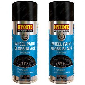 2 x Hycote Alloy Wheel Gloss Black Spray Paint Aerosol Weather Resistant 400ml