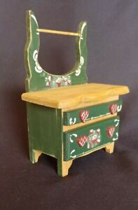 Vintage Hand Painted Dollhouse Miniature  Washstand Night Table w/ Towel Bar