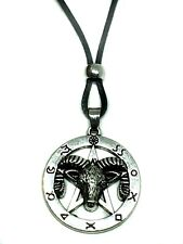 RAM Head Goat of Mendes Pentagram Pendant Occult Symbols Beaded Cord Necklace