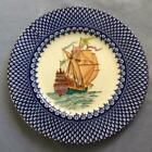 """Wedgwood sailing ship hand painted with blue trim 10 1/2"""" dnner plate W759 #2"""