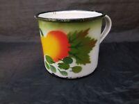 Vintage Metal Tin Mug Cup Peaches Apple Fruit Theme RARE!
