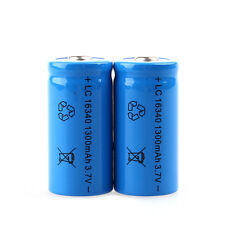 1 Pcs 3.7V 1300mAh 16340 CR123A Rechargeable Li-ion Battery Blue