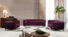 Divani Casa Delilah Modern Purple Velour Fabric Sofa Set 3 Pcs Traditional VIG