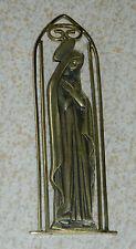 ancien MINI TABLEAU vintage STATUE MURALE MARIA bronze mermet VIERGE MARIE metal