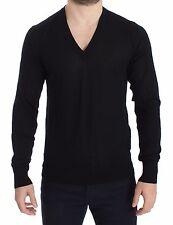 NWT $700 DOLCE & GABBANA Black Cashmere V-neck Sweater Pullover Top s. IT52 / L