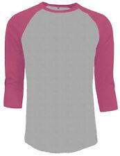 3/4 Sleeve Plain Baseball Raglan T-Shirt Tee Mens Sports Jersey Gray Pink XL