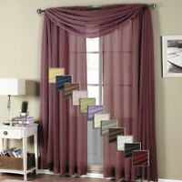 Elegant Abri Crushed Sheer Curtain Panel with Traditions Rod Pocket (Single)
