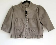 Madison Marcus Victorian style cropped gray leather jacket Small