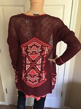 NWT $49.95 BKE The Buckle Open Face Wine Coral Cardigan Sweater Size Small
