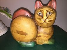 Carved Wooden Wood Brown Cat Bali Indonesian Balinese
