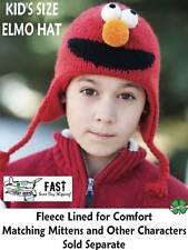ELMO HAT knit kids cap girls boys youth FLEECE LINED costume Sesame Street delux