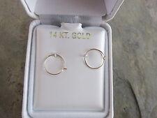 14KT Yellow Gold Hoop Shiny Thin Endless Hoop Earrings 11 MM NEW Thin Light TINY