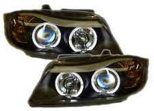 For BMW 3 Series E90 E91 Black LED Angel Eye Projector Headlights Halo Rings