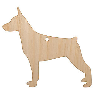 Miniature Pinscher Min Pin Dog Solid Unfinished Wood Christmas Tree DIY Ornament