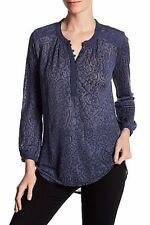NWT Lucky Brand Patriot Blue Textured Long Sleeve Shirt Blouse Mixed Knit Top S