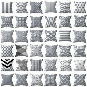 "Gray Cushion Cover Geometric Pillow Case Pillowcase Sofa Home Decor 18"" *18''"