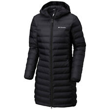 "New Womens Columbia ""Lake 22"" Long Hooded Heat Seal 650-Fill Down Jacket Coat"