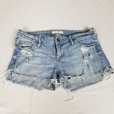 Bullhead Womens Shorts Size 9 Juniors Light Wash Denim Cut off Ripped Distressed