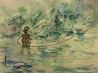 ORIGINAL Fly Fishing Watercolor  painting