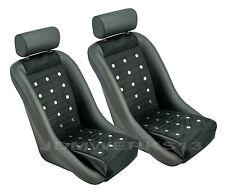 RETRO CLASSIC VINTAGE RACING BUCKET SEATS BLACK PVC MICROSUEDE W SLIDERS (PAIR)