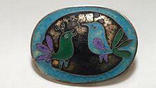 Mid Century Enamel Cloisonne Pin Brooch Perli Style Modernist Birds Germany
