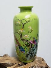 Chinese Green Base With Famille Rose  Faience Enamel Painted Porcelain Vase