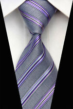 AS0617 Blue Gray Striped Classic Elegant Woven 100%Silk Necktie Man's Tie