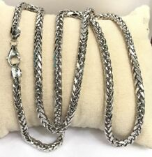 "18k Solid White Gold Man Big Wheat Chain/ Necklace Dimond Cut. 26"". 18.90 Gr"