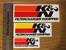 K&N Filtercharger Equipped Stickers x 3 Car / Van / Wall / Toolbox / Decal